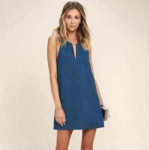 LULU'S - Near or Bar Teal Blue Shift Dress